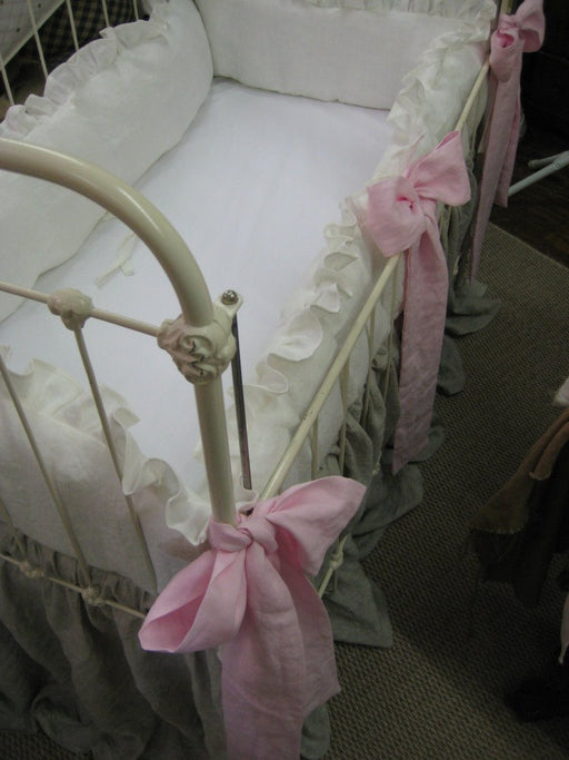 Twins Nursery-Two Sets- Washed Linen Ruffled Crib Bedding-Bow Separates in Pink or Blue-Oatmeal Crib Skirts-Vintage White Bumpers