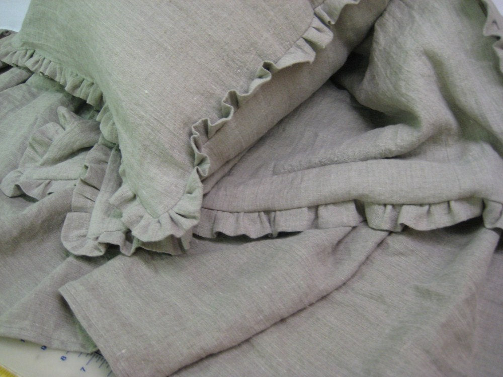 Washed Natural Linen Queen Bedskirt and Ruffled Euroshams