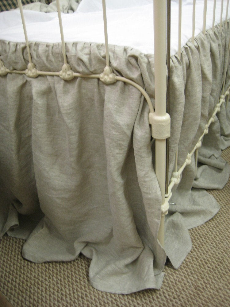 "Washed Oatmeal Linen Ruffled Crib Bedding-2"" Ruffled Bumpers-Sash Ties-Storybook Crib Skirt"
