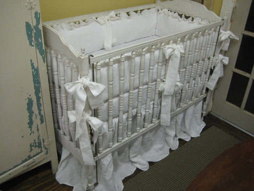 "Storybook Style Bright White Washed Linen Crib Bedding-2"" Ruffled Bumpers-Extra Long Crib Skirt"