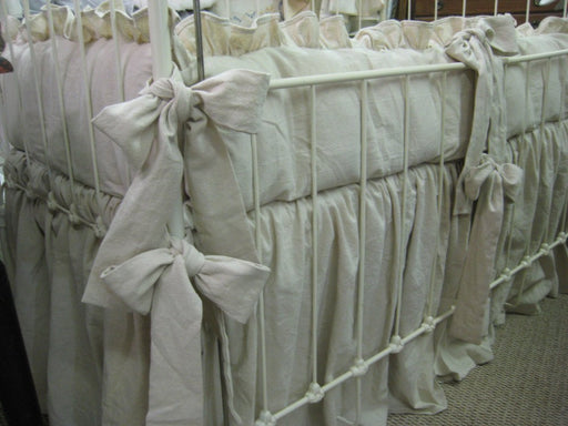 Classic Ruffled Crib Bedding-Natural Washed Cotton----Crib Linens Made with Washed Natural Cotton---Ruffled Bumpers-Storybook Crib Skirt