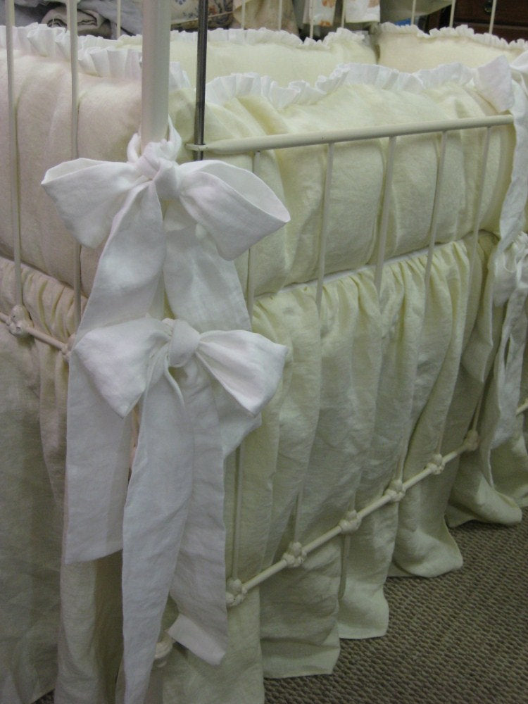 A Pair of Ruffled Crib Bedding Sets in Washed Linen-Twin Crib Bedding-Ruffled Washed Linen Crib Bedding for Twins-Custom Twin Crib Linens