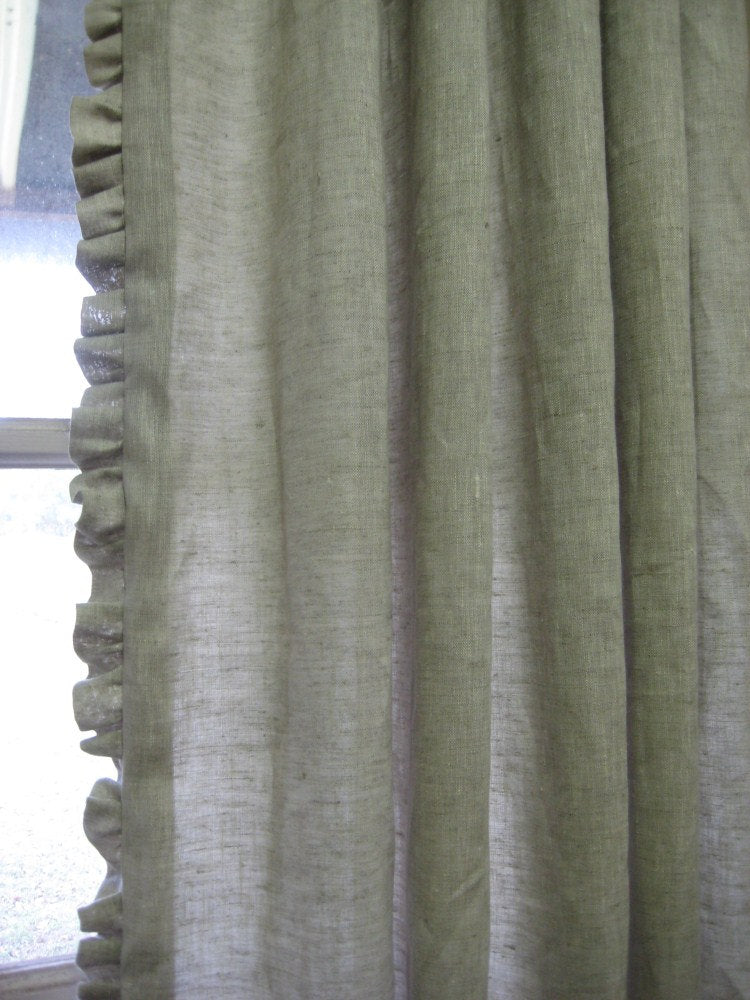 Pair of Single Width Ruffled Linen Drapery Panels---Pleated Panels or Tailored Panels with No Pleats---Your Color Choice---Ruffled Curtains