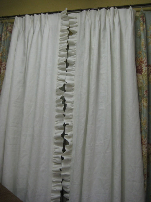 "MADE TO ORDER-3"" Folded Ruffle Linen Drapery Panels-One Pair- Pleated and Lined-Shipped Ready to Hang"
