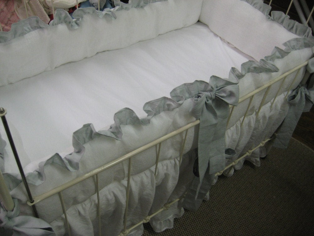 Washed Handkerchief Linen Crib Bedding - White with Dove Ruffles and Sash Style Ties-Ruffled Bumpers-Ruffled Crib Skirt