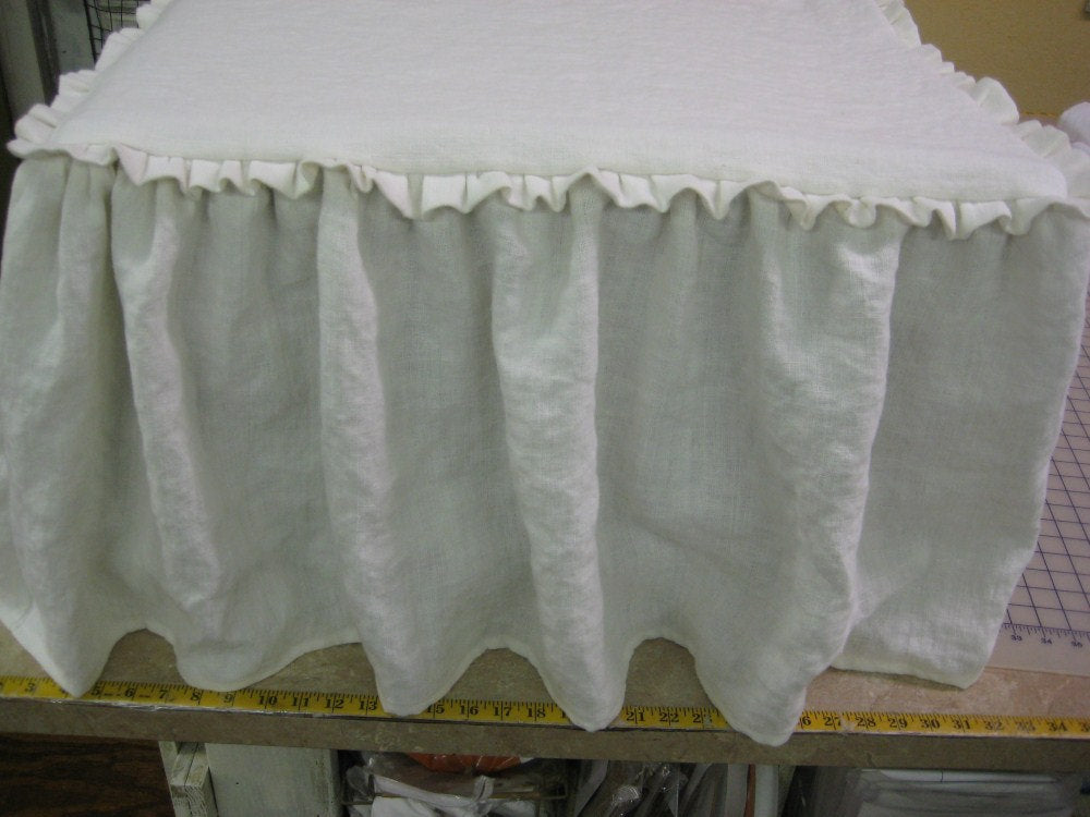 Ruffled Top Washed Linen Slipcover for Your Ottoman