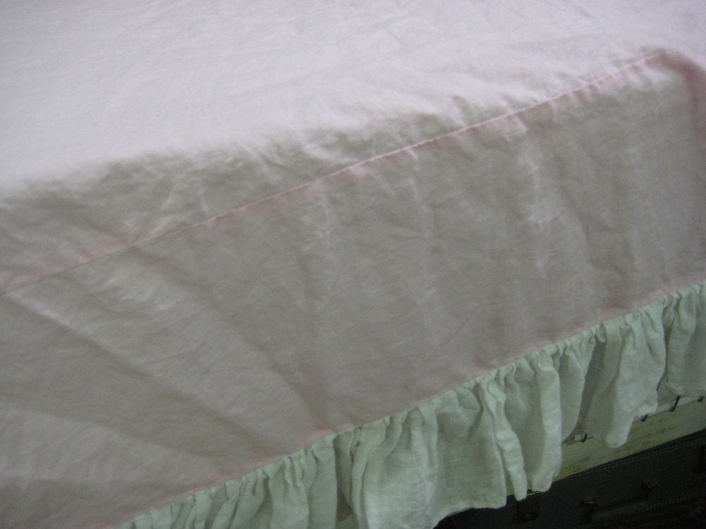 Ruffled Washed Linen Duvet - Single Bed Size