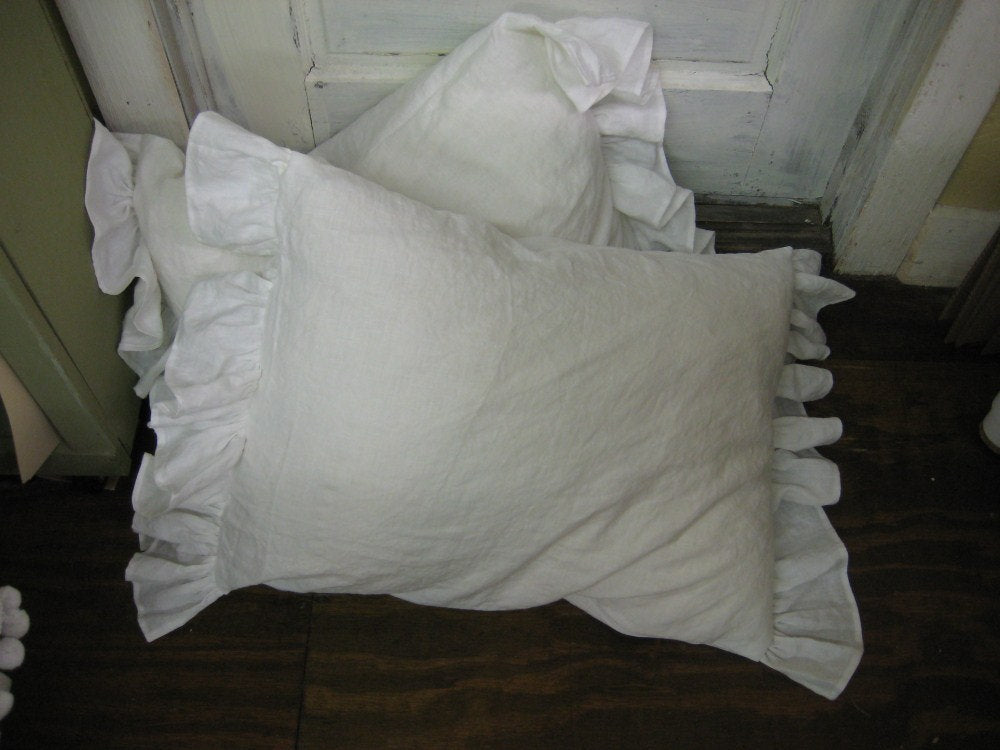 Side Ruffle Pillow Shams - Washed Vintage White Linen - 2 Shams-One Pair of Washed Linen Side Ruffle Shams in Your Size Choice