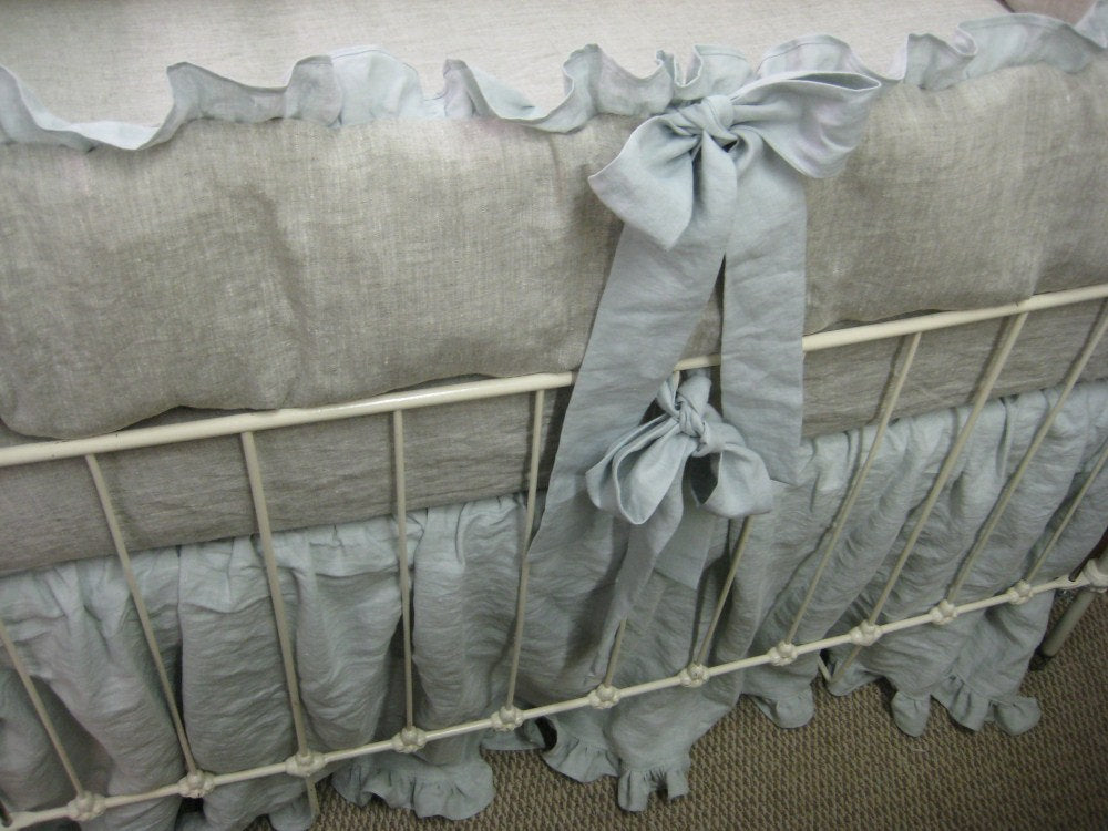 Washed Linen Crib Bedding and Accessories....Color Options Available
