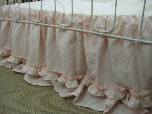 Ruffled Linen Crib Bedding in Pale Pink-Double Hemmed Ruffles