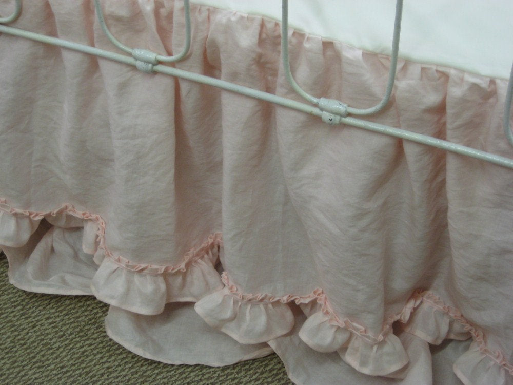 Custom Ruffled Linen Crib Bedding in Blossom Pink-Washed Linen Nursery in Pale Pink-Hemmed Double Ruffle Crib Skirt Detail
