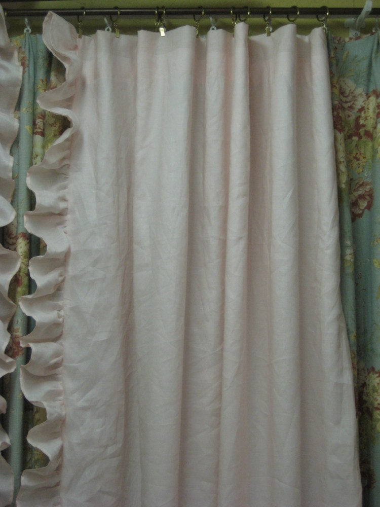 Pair of Ruffled Drapery Panel-Two Lined Single Width Ruffled Panels with Rod Pocket Header-Ruffled Curtain Panels-Two Long Curtain Panels