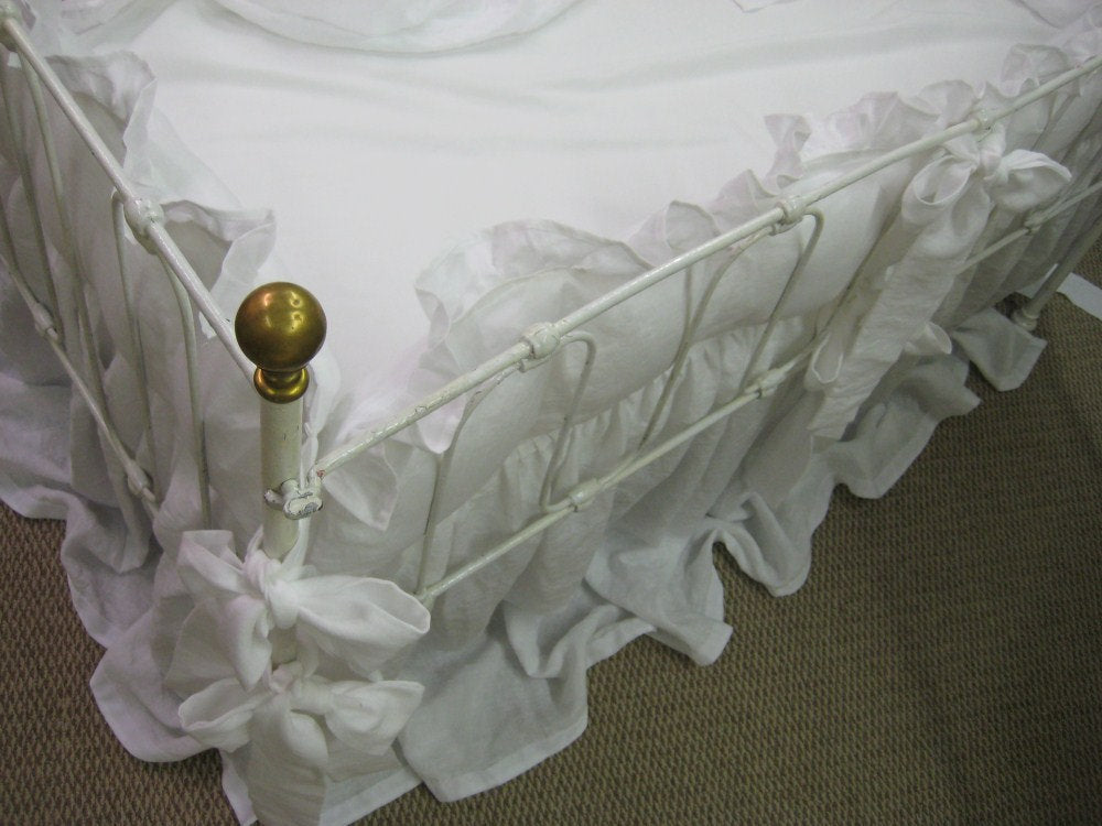 "Storybook Style Bright White Washed Linen Crib Bedding-2"" Ruffled Bumpers-Velvet Ribbon Trim Detail"