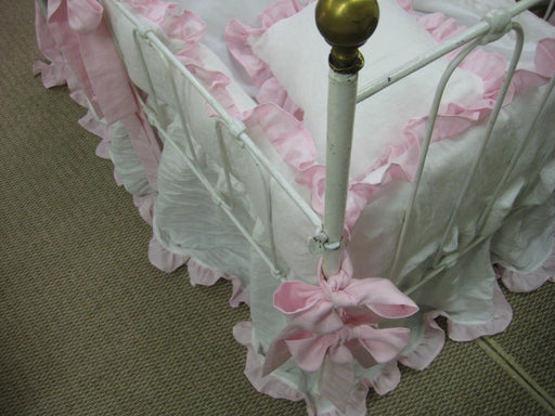 Ruffled Crib Bedding---Washed Bright White Linen with Hyacinth Pink Ruffles