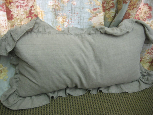 Relaxed Ruffle Washed Linen Pillow Sham-Ruffled Bed Pillow Sham in Your Linen Color Choice and Size