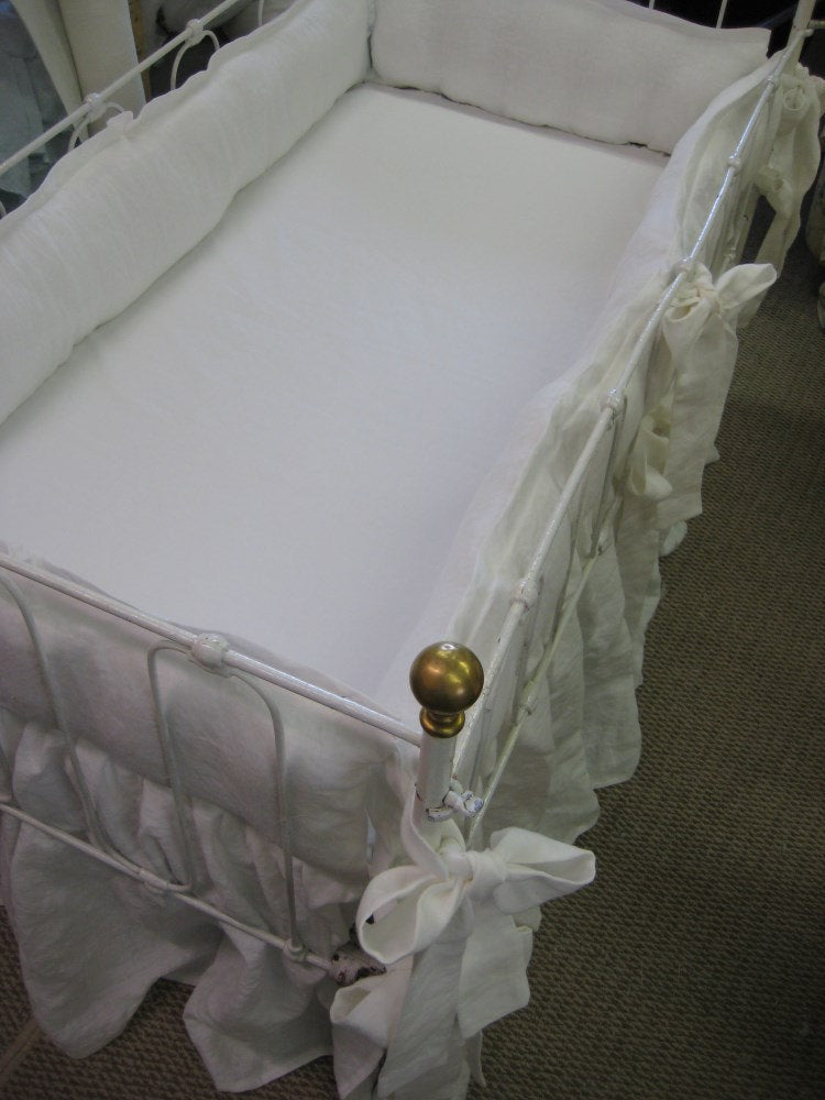 Vintage White Medium Linen-Washed Linen Tailored Crib Bedding with Sash Ties and Gathered Crib Skirt