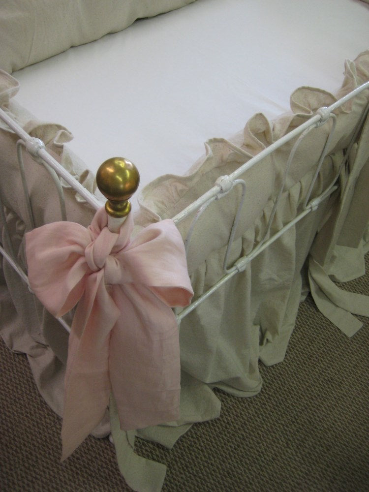 Classic Ruffled Crib Bedding-Natural Washed Cotton-Pair of Ballet Washed Linen Extra Long Sashes