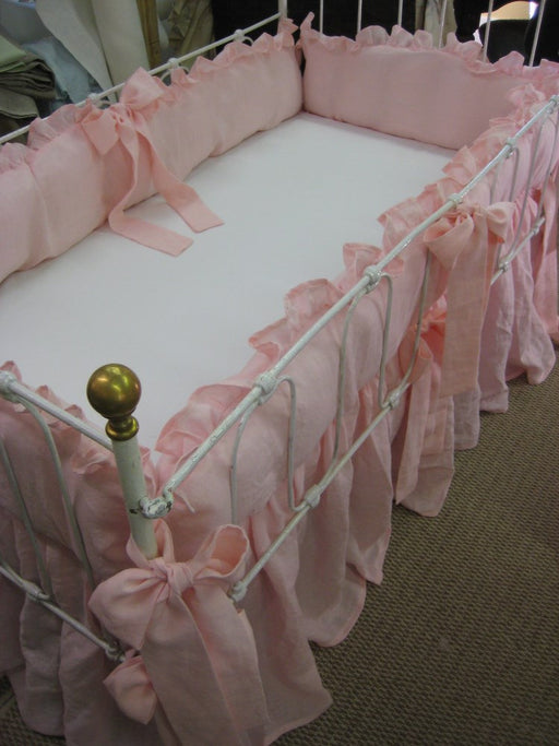 Ruffled  Linen Crib Bedding in Cameo Pink-Matching Ruffled Crib Blanket-Fitted Crib Sheet