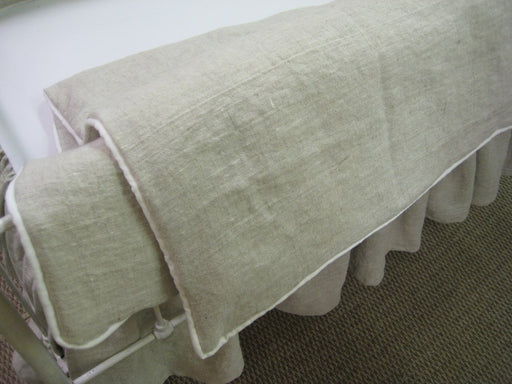 Tailored Oatmeal and Vintage White Washed Linen Crib Duvet and Blanket Insert - Crib Blanket
