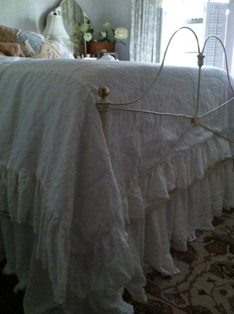Washed Linen Ruffled Duvet-Washed Handkerchief Linen in Vintage White - Made to Order Artisan Bedding