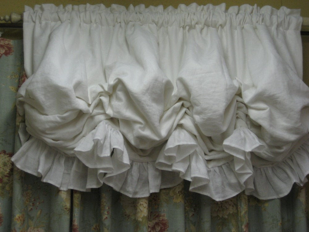 "White Linen Ruffled Balloon Shade-Fixed Balloon Shade Window Treatment-Non Functional-Single Window Size up to 48"" Wide"