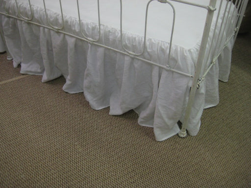 Crib Bedding Crib Skirts for Twins-Pair of Bright White Washed Linen Crib Skirts- Two Washed Linen Crib Skirts in Bright White
