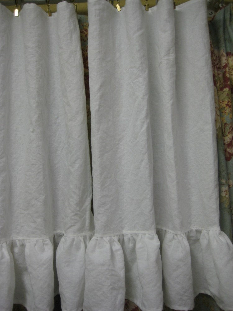Pair of Washed Linen White Cafe Curtain Panels-Two Panels