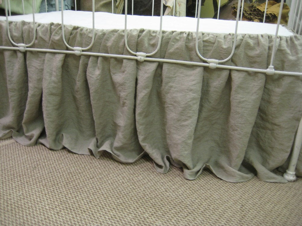 Washed Linen Storybook Style Crib Skirt-16 Inch Drop Length
