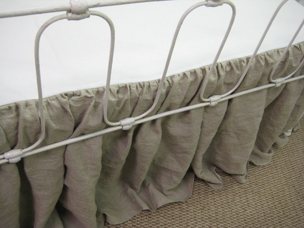 Washed Linen Storybook Style Crib Skirt-Your Requested Length Finish-Offered in Any Linen Color-Washed Linen Crib Bedding-Gathered CribSkirt