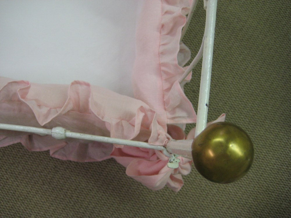 "Washed Linen Crib Bedding in Rosebud Pink-2"" Ruffled Crib Bumpers with Over-Sized  Sash Style Ties-Extra Long Storybook Style Crib Skirt"