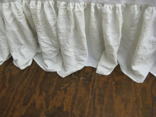 "Gathered Bed Skirt in Washed Vintage White Linen-18"" Drop Length--Other Colors Available"