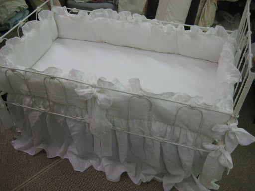 "Bright White Washed Linen Crib Bedding-2"" Ruffled Bumpers-Sash Ties-Storybook Crib Skirt"