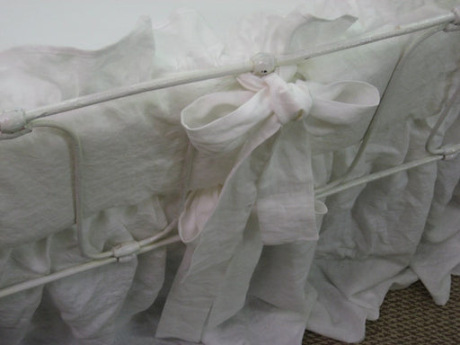 "Bright White Washed Linen Crib Bedding-2"" Ruffled Bumpers-Sash Ties-Storybook Crib Skirt-Ruffled Crib Blanket"