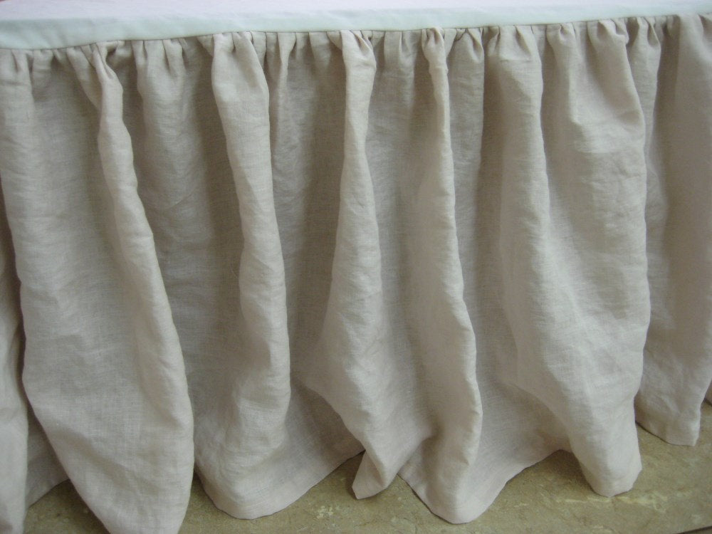 "King Bed Skirt in Washed Linen-18"" Drop Length--Bed Skirt Photographed in Vintage White-Other Colors Available-Other Sizes Available"