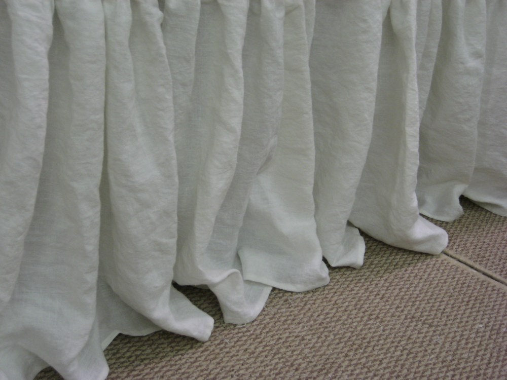 Extra Long Washed Linen Gathered Bedskirt or Extra Long Gathered Bedskirt Panel Separates-Custom Gathered Washed Linen Bed Skirt Panels