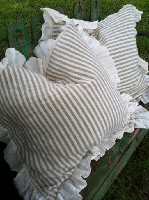 Natural Flax and Cream Stripe Washed Linen Bed Pillow Shams-One Pair-Ruffled Pillow Shams-Linen Stripe Pillows