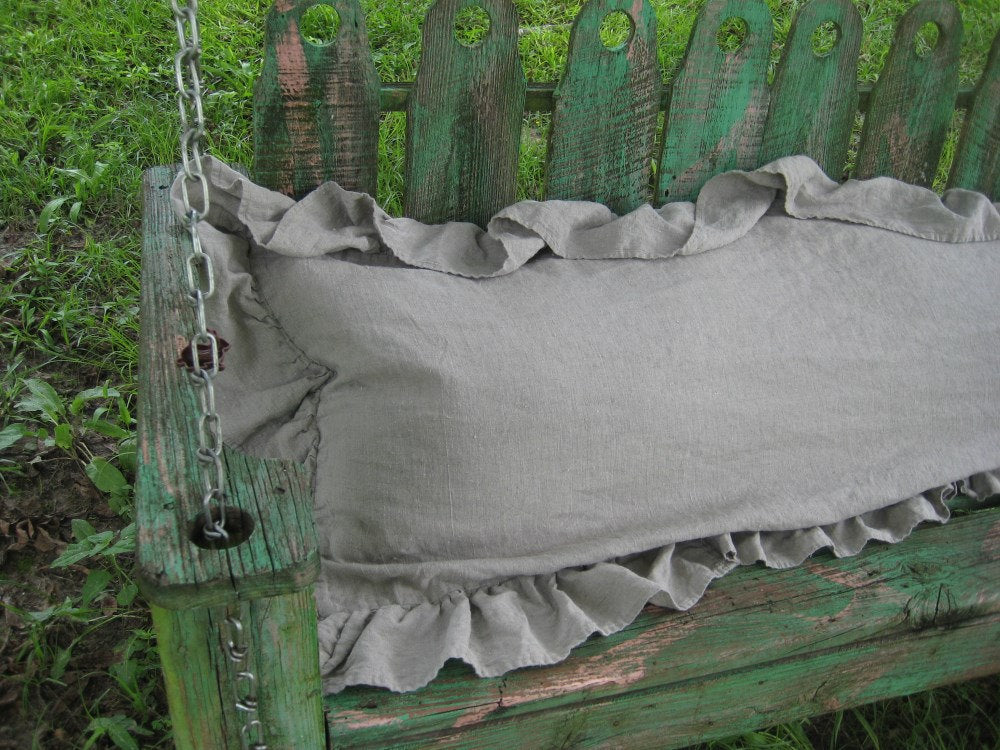 Ruffled Body Pillow Sham in Washed Linen-Long Ruffled Pillow Case