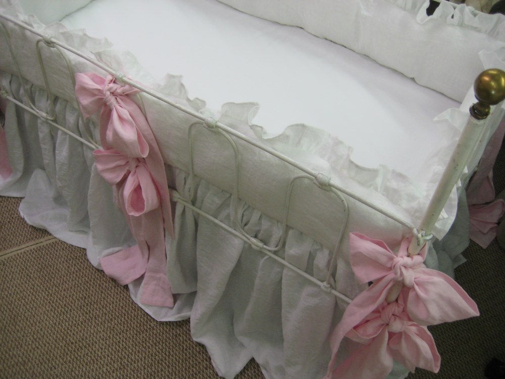 Classic White Washed Linen Ruffled Crib Bedding with Over Sized Sashes---Color Options Available