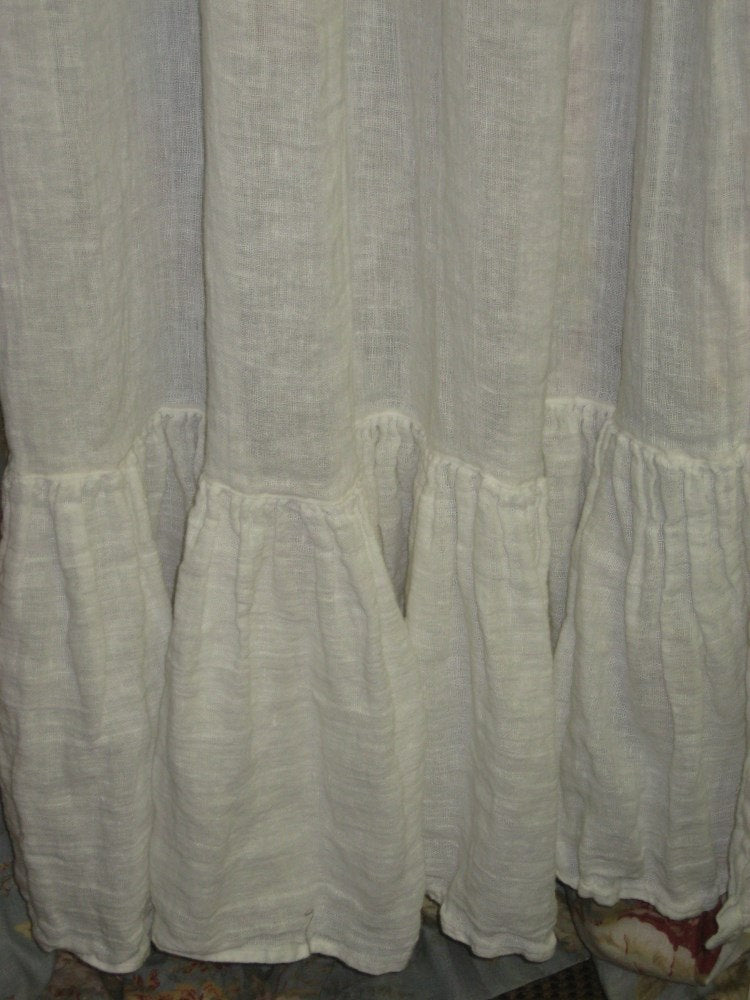 Ruffled Washed Linen Curtain Panels-Made to Order in Washed Linen-Single Width Curtain Panel with Long Ruffled Hem-Clip Rings or Rod Pocket
