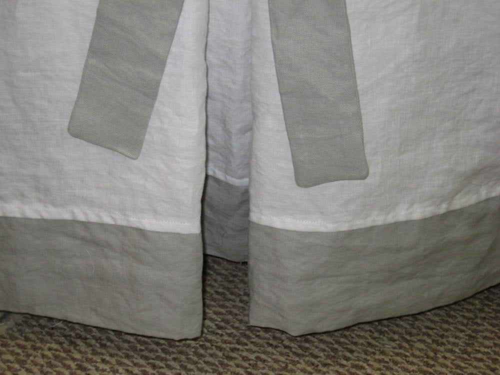 Tailored Crib Bedding in Bright White and Grey Washed Handkerchief Linen