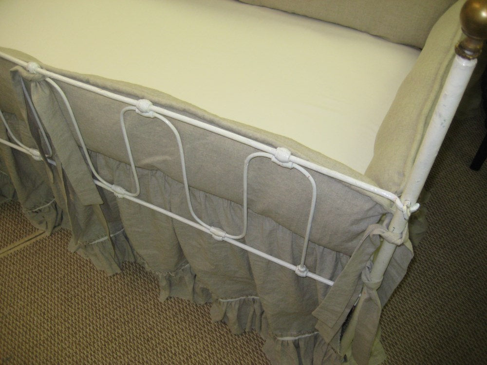 Washed Oatmeal Linen Crib Bedding-Torn Ruffle Cribskirt with Velvet Ribbon Trim and Tailored Bumpers