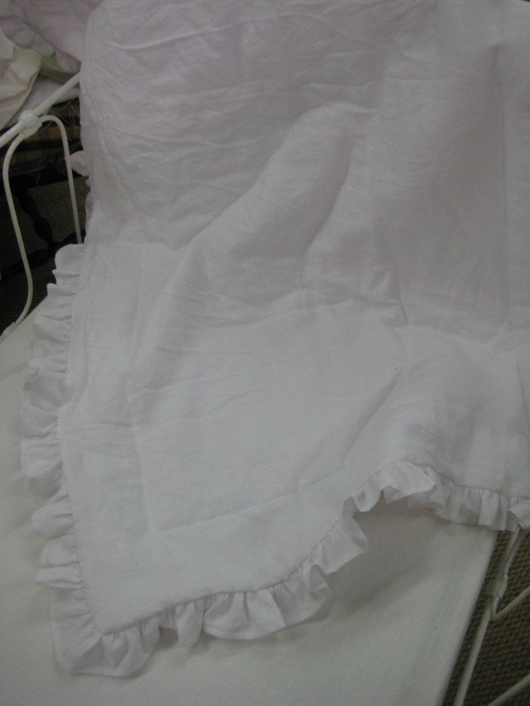 Ruffled Crib Blanket in Bright White Handkerchief Linen