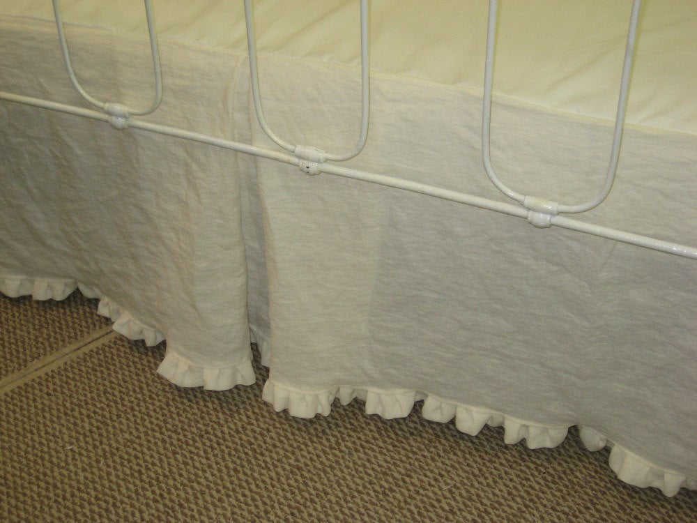 "Washed Linen Tailored Crib Skirt with Inverted Box Pleats and 1"" Ruffled Hem"