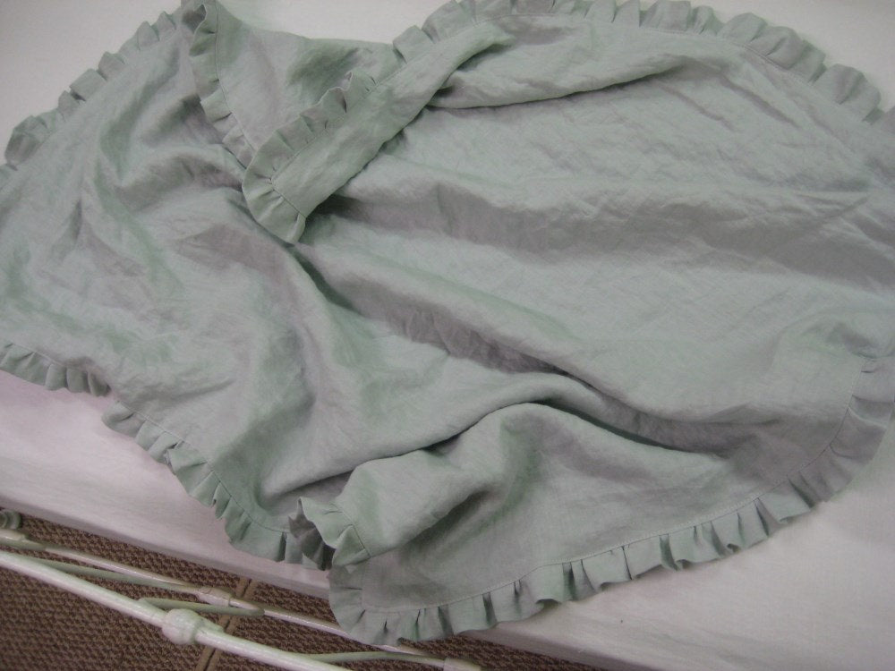 Washed Linen Ruffled Receiving Blanket and Ruffled Crib Pillow Sham-Pillow Insert Included with Order