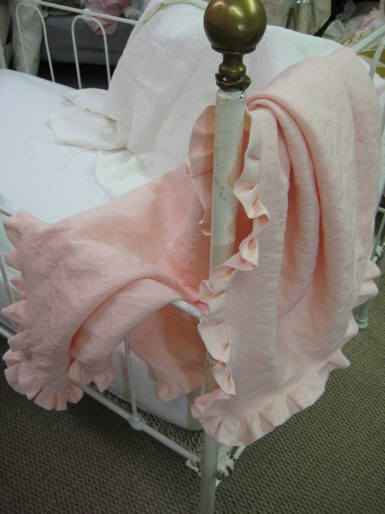 Ruffled Washed Linen Receiving Blanket and Matching Crib Pillow- Any Linen Color-Baby Gift-Baby Blanket