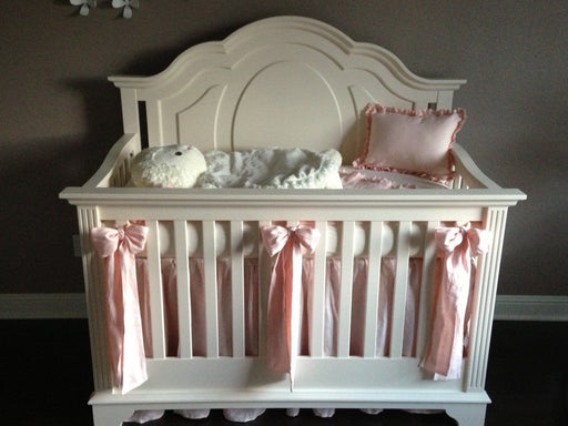 Washed Ballet Linen Ruffled Crib Bedding Pieces- Crib Skirt-Receiving Blanket-Sashes-Crib Pillow