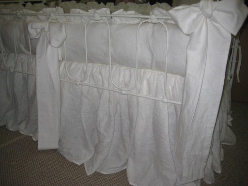 Ruffled Vintage White Washed Linen Crib Bedding-Over Sized Crib Sashes-Storybook Crib Skirt-Classic Baby Bedding