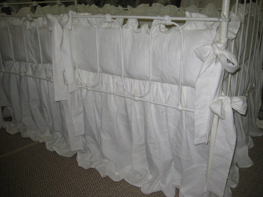 Vintage White Washed Linen Ruffled Crib Bedding--Ruffled Crib Pillow-Medium Weight Washed Linen in Warm White