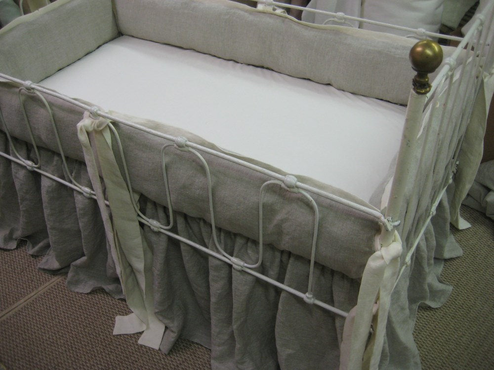 Tailored Washed Linen Bumpers-Bumper Covers and Removable Bumper Pad Inserts