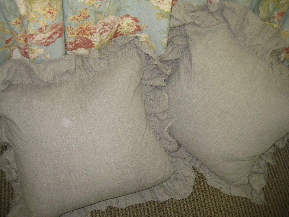 Washed Linen Ruffled Euro Shams-One Pair Ruffled Washed Linen Euro Shams-Zippered Euro Shams-Washed Linen Bedding